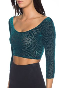 L - Burned Velvet elm 3/4 sleeve crop