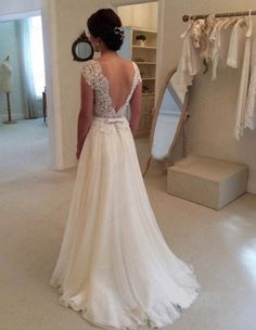 A-line Round Neckline Chiffon Lace Long Wedding Dresses, Wedding Gown, Open Back Wedding Dress, Lace Sleeves Wedding Dress - Wedding Photo Wedding Robe, Open Back Wedding Dress, Long Wedding Dresses, Wedding Attire, Long Dresses, Prom Dresses, Ivory Wedding, Backless Dresses, Wedding Dress Lace Top