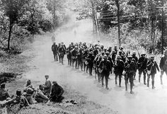 World War I, American infantrymen on their way to the front in France, 1918