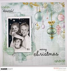 'Merry Christmas' layout by Rikki Graziani DT for Kaisercraft using 'Christmas Wishes' collection ~ Wendy Schultz ~ Christmas layout Scrapbook Sketches, Scrapbook Page Layouts, Scrapbook Albums, Scrapbooking Ideas, Christmas Wishes, Christmas Greetings, Christmas Layout, Christmas 2016, Merry Christmas