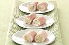 Pickle Roll-ups - a delightful combination of Oscar Meyer's smoke ham slices, Philadelhpia cream cheese & dill pickle spears. Check it out on Kraftbrands.com/recipes. You won't regret it.
