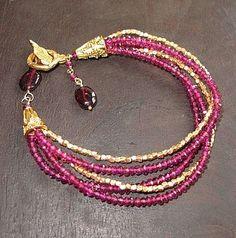 Pink Garnet 5 Strand Gemstone Bracelet with gold vermeil accents