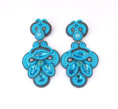 Statement Long Turquoise Clip On Earrings by GiSoutacheJewelry