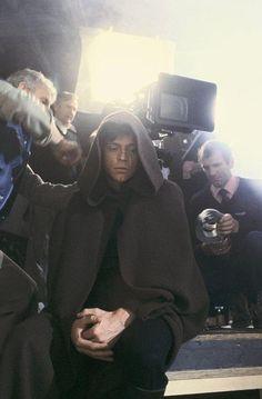 Mark Hamill as Luke Skywalker on the Return of the Jedi set.
