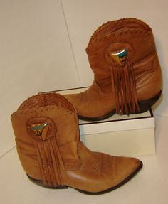 Zodiac Short Ankle Fringe Country Cowboy Leather Boots Size 7 Made IN USA 1980'S | eBay