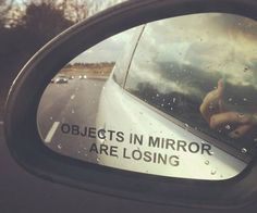 "The ""objects in mirror are losing"" sticker will turn even the most leisurely drive into a constant thrilling race guaranteed to get the adrenaline pumping. It's a great little humorous touch for any car and makes an ideal gift for drivers with a competitive nature."
