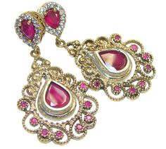 $70.25 Fashion Design!! Pink Ruby, Gold Plated Sterling Silver earrings at www.SilverRushStyle.com #earrings #handmade #jewelry #silver #ruby