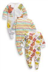 Three Pack Bright Animal Sleepsuits (0mths-2yrs)