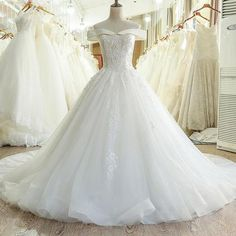 Lace Off Shoulder Backless Applique Sequin Beautiful Wedding Dresses With Chapel Train,Off The Shoulder Ball Gown Lace Tulle Wedding Dress Wedding Dress Necklines, Wedding Dress Chiffon, Beaded Prom Dress, Applique Wedding Dress, Backless Wedding, Bridal Dresses, Wedding Gowns, Lace Applique, Tulle Wedding