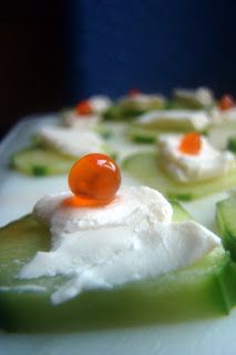 Easy Superfood Appetizer: Creamy Cukes with Beautiful Salmon Roe (grain-free : primal : gluten-free)