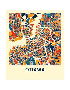 Ottawa Map Print Full Color Map Poster by iLikeMaps on Etsy