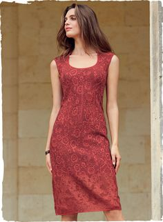 This sensuous stunner heats up the season in a lacy floral inspired by vintage corsetry. Jacquard knit in tonal pima hues, the curvaceous shape features dramatic shoulders, a contoured scoop neck and a contrast lace border. Modest Summer Fashion, Summer Outfits, Summer Clothes, Knit Dress, Lace Dress, Lace Border, Red Aesthetic, Well Dressed Men, Spring Dresses