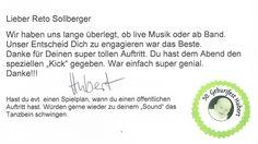 Super-Referenz für Alleinunterhalter CoolCat, von einer Geburtstagsfeier in Bern www.alleinunterhalter-coolcat.ch