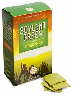 "Soylent Green is PEOPLE! ""Nutritious goodness"" government produced and distributed food product, for the gullible masses. Made from 100% human cadavers and algae. (Not this one, this is just a joke!). Also try tasty: Soylent Pink, Soylent Yellow and Soylent Brown."