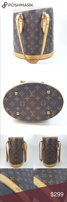 """Authentic Louis Vuitton RELINED Bucket PM MONOGRAM This classic bucket style shoulder bag is crafted of Louis Vuitton monogram on coated canvas. The shoulder bag features vachetta cowhide leather including a solid base, two shoulder straps and with polished brass hardware. This bag opens to a light fabric interior. This lovely tote is ideal for everyday use, by Louis Vuitton! 9"""" by 10"""". leather aging and cracks, Leather tears on top rim. Inside entire interior has been RELINED by the…"""