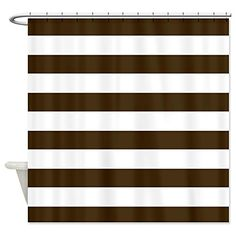 CafePress Brown And White Bold Stripes Shower Curtain Decorative Fabric Read More
