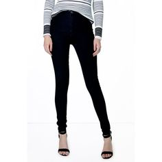 Boohoo Blue Lara High Rise Black Super Skinny Tube Jeans ($35) ❤ liked on Polyvore featuring jeans, black, black high waisted jeans, skinny jeans, distressed skinny jeans, slim straight jeans and ripped skinny jeans