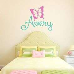 Personalized Butterfly Name Decal Girls Name Wall Decal Butterfly - Custom vinyl wall decals for nursery