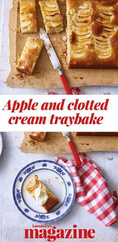 Bake our easy apple and clotted cream traybake recipe for a teatime treat that all the family will enjoy. Clotted cream replaces the more usual butter, giving this cake a lovely light texture. Tray Bake Recipes, Fall Recipes, Sweet Recipes, Cooking Recipes, Apple Traybake, Clotted Cream, Food Trays, Homemade Cookies, Recipe Collection