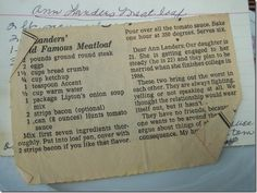 Ann Landers' Famous Meatloaf recipe from original newspaper clipping (Homemade Meatloaf Recipes) Retro Recipes, Old Recipes, Vintage Recipes, Meat Recipes, Cooking Recipes, Amish Recipes, Dutch Recipes, Famous Meatloaf Recipe, Famous Recipe