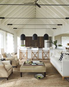 Serena & Lily Canyon Chair - Hair on Hide Modern rustic living room decor ideas. This breezy home with white and flax color scheme has beautifully contrasting rustic decor. Even the furniture creates a gorgeous juxtaposition of clean lines and curves. Coastal Living Rooms, Living Room Interior, Living Room Decor, Living Spaces, Interior Livingroom, Coastal Homes, Plywood Furniture, Antique Furniture, Rustic Furniture