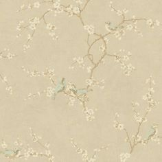 "Metallic II 27' x 27"" Birds with Blossoms Floral Foiled Roll Wallpaper"