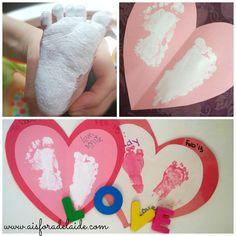 A footprint craft for baby's first Valentine's Day! #footprintcraft #babycraft