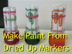 How To Make Paint From Dried Up Markers...http://homestead-and-survival.com/how-to-make-paint-from-dried-up-markers/