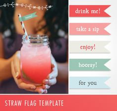 Free template for straw flags – add a pinch of pizazz to your drink! :: Lucy Olive