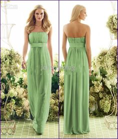 Especial Green Bridesmaid Dresses : Strapless Green Bridesmaid
