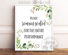 Bathroom Printables, Please Remain Seated For The Entire Performance, Funny Bathroom Prints, Bathroom Quote Prints, Humorous Bathroom Signs