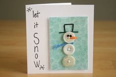 make snowman cards to send to love ones Christmas Crafts For Kids, Christmas Fun, Holiday Crafts, Winter Holiday, Homemade Christmas, Cute Cards, Diy Cards, Snowman Cards, Button Cards