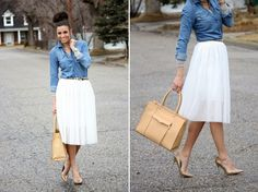 10 of the Most Stylish Midi Skirts for Spring via Brit + Co.