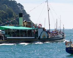 The historic paddle steamer Kingswear Castle is the last remaining coal-fired paddle steamer in operation in the UK today. Located in Dartmouth, South Devon. Boat Companies, Steam Railway, South Devon, Below Deck, Dartmouth, Paddles, Steamer, Paddle Boarding, Fun Things