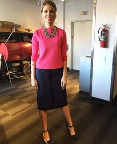 Wednesday, February 25th | Dina's outfit included: HUDSON'S BAY VERO MODA Pink 3⁄4 Sleeve Top $49.00 PLANET Navy & Black Pencil Skirt $219.00 Dual Layered Rhinestone and Chain Necklace $60.00 COACH Black & Navy Pumps with Ankle Strap $178.00 (Last Season) MENDOCINO Gold Bangles with Cobalt Stones $8.00/each CLUB MONACO Cocktail Ring $129.50 (Last Season)