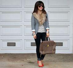 Dark skinnies, stripes, grey blazer, faux fur stole
