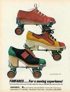 Fanfares roller shoes, 1972 Fashion and Lifestyle photos Roller Derby, Retro Roller Skates, Roller Disco, Roller Skating, Skating Rink, Vogue Vintage, Vintage Ads, Vintage Market, Vintage Posters