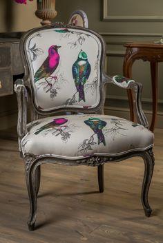 Fotelik w stylu Ludwika XV w ptaki | Studio Rococo - meble francuskie, meble w stylu ludwikowskim http://www.studiorococo.com/fotele