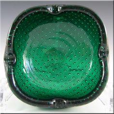 Venini Murano Green Glass Bullicante Bowl by Carlo Scarpa