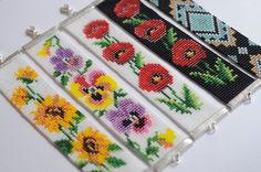 Wulst Webstuhl Armband Stiefmütterchen-Armband von AnadoreAtelier