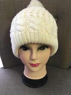 Beautiful white quilted beanie
