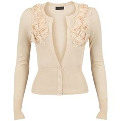Cream cardigan with great ruffle flower detail.