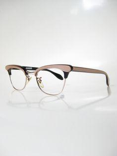 Vintage 1960s Black Pink Cat Eye Eyeglasses by OliverandAlexa