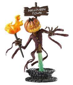 """Jack Skellington as the Pumpkin King points the way to Halloweentown. But do YOU have the guts to go there...? JACK SKELLINGTON / PUMPKIN KING """"GRAND JESTER"""" BUST. (from Walt Disney's Tim Burton's """"The Nightmare Before Christmas"""")"""