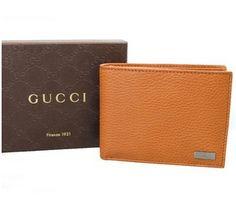 a8a36be15b3edd Gucci Men's 217042 Saddle Tan Leather Plaque Logo Bifold Id Wallet