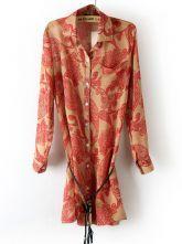 Red Long Sleeve Totem Print Belt Chiffon Blouse $22.74  #SheInside #hipster #love #cute #fashion #style #vintage #repin #follow