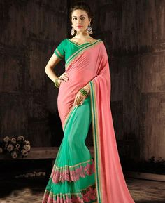 #hey @a1designerwear . Item code: ANBRAAINA1110 . Buy Sightly Pink & Green Georgette #Saree #onlineshopping with #worldwideshipping at  https://www.a1designerwear.com/sightly-pink-green-georgette-sarees   . #a1designerwear #a1designerwear . #instashop #worldwide #thankyou