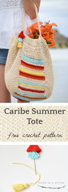 This crocheted, big bag can hold all my summer stuff! It's so cute and there's a picture tutorial to show you how it's crocheted. Free, easy crochet pattern available. #crochetpattern #diy #summer #totepattern via @MamaInAStitch