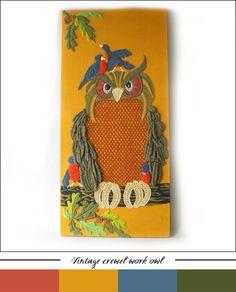 My Owl Barn: Vintage Crewel Embroidered Owl