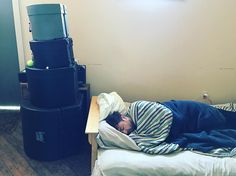 There were more comfortable places to sleep but Brian insisted he be close to his drums #protective #gearporn #recording #ep3